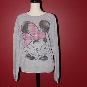 Disney Minnie Mouse Long sleeve grey shirt MEDIUM